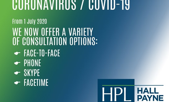 Coronavirus and client appointments at Hall Payne Lawyers